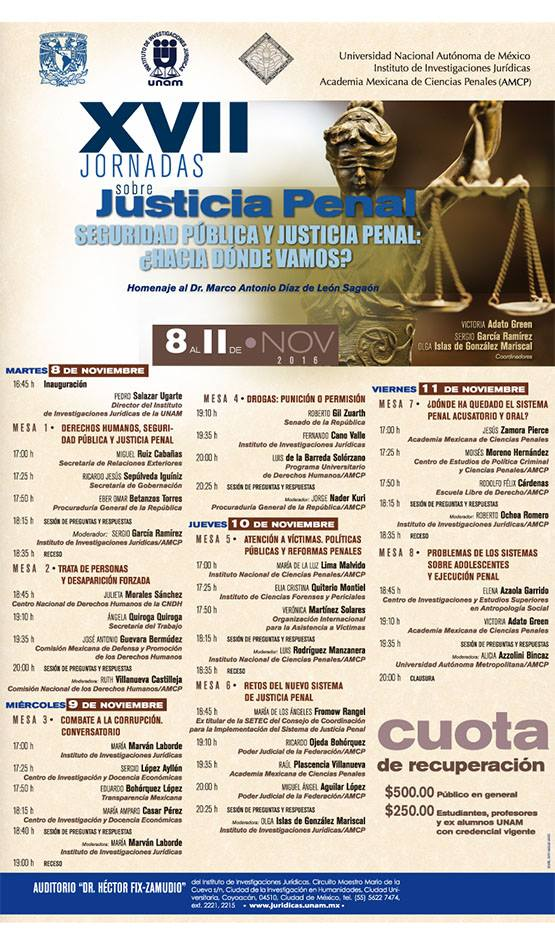 XVII Jornadas sobre Justicia Penal: \